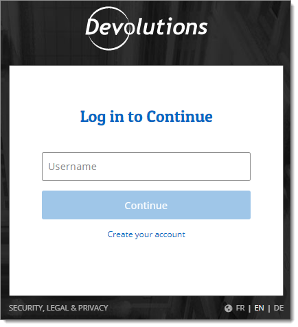 Devolutions Account Login